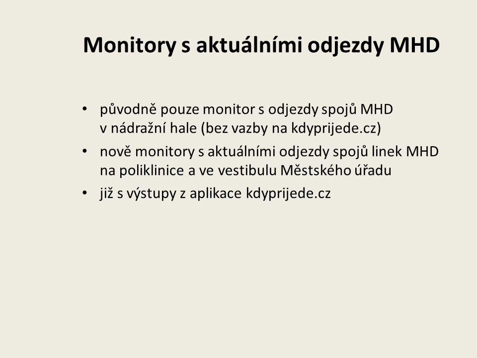 Monitory s aktuálními odjezdy MHD původně pouze monitor s odjezdy spojů MHD v nádražní hale (bez vazby na kdyprijede.cz) nově monitory s aktuálními od