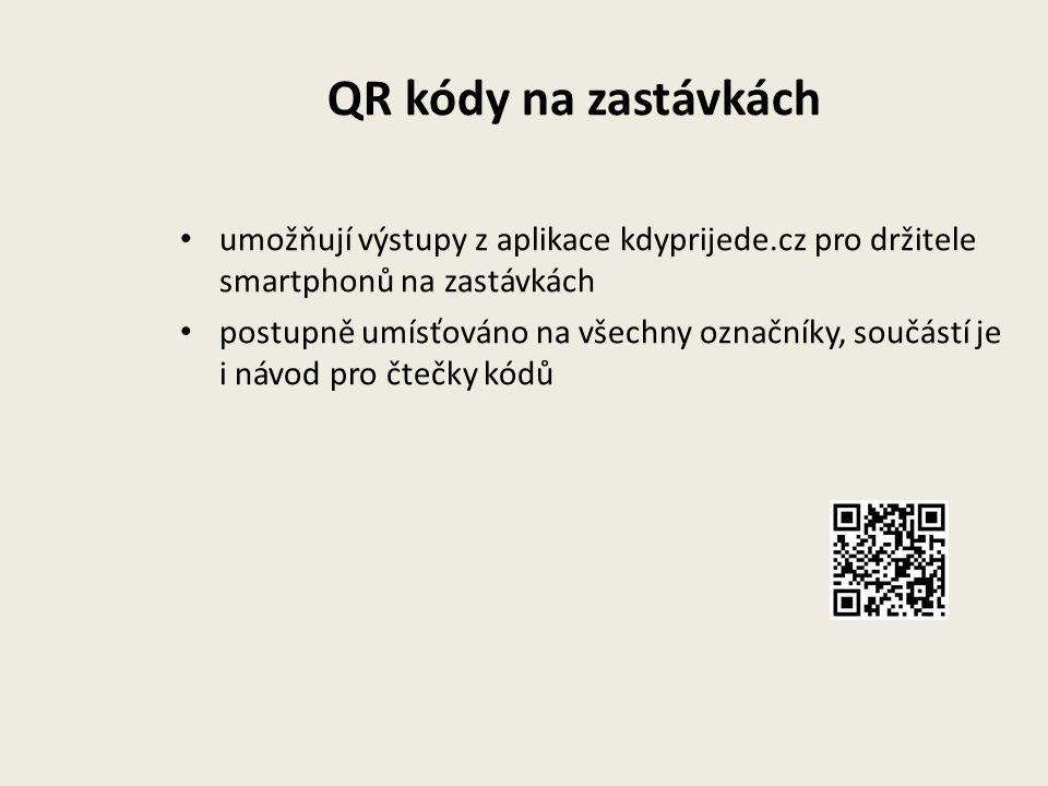 QR kódy na zastávkách umožňují výstupy z aplikace kdyprijede.cz pro držitele smartphonů na zastávkách postupně umísťováno na všechny označníky, součástí je i návod pro čtečky kódů