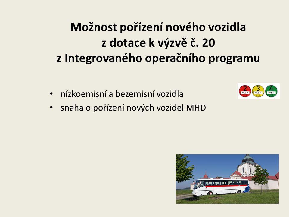Možnost pořízení nového vozidla z dotace k výzvě č. 20 z Integrovaného operačního programu nízkoemisní a bezemisní vozidla snaha o pořízení nových voz
