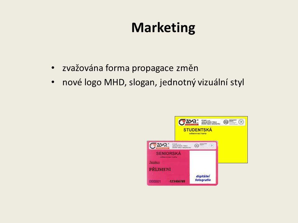 Marketing zvažována forma propagace změn nové logo MHD, slogan, jednotný vizuální styl