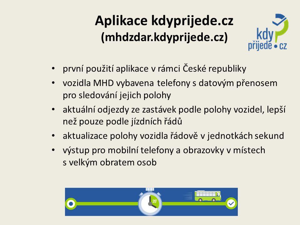 Aplikace kdyprijede.cz (mhdzdar.kdyprijede.cz) první použití aplikace v rámci České republiky vozidla MHD vybavena telefony s datovým přenosem pro sle