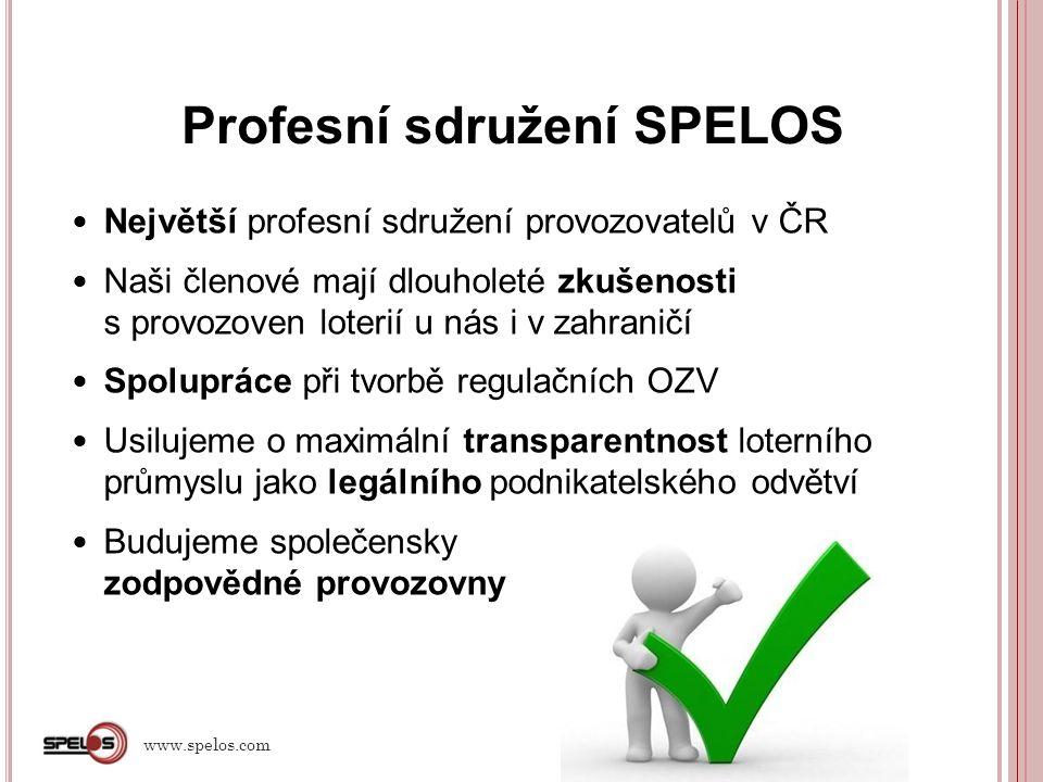 Problémy aktuální vládní daňové novely www.spelos.com Návrh skokového enormního zvýšení loterní daně pro THZ o 40% a pevné části základu odvodu o 45 % ( od 1.