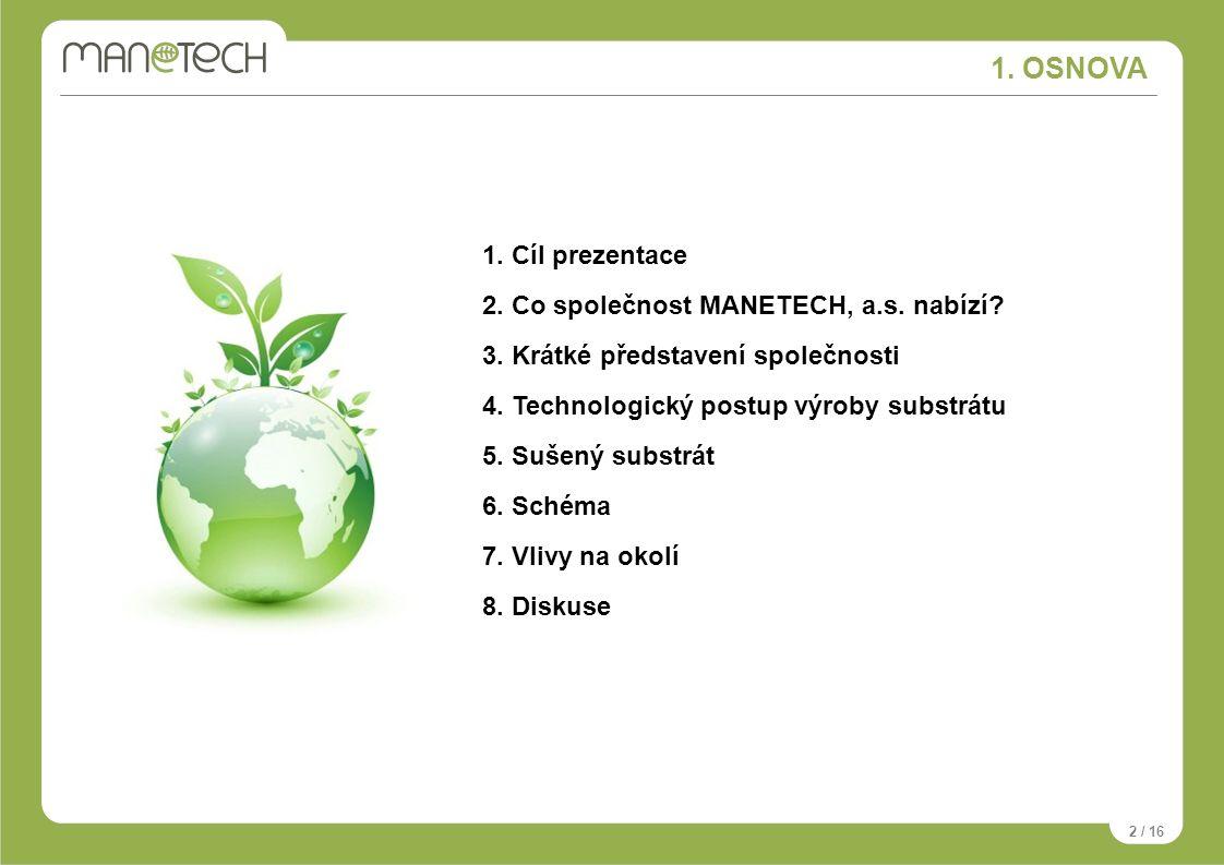 1. OSNOVA 2 / 16 1. Cíl prezentace 2. Co společnost MANETECH, a.s. nabízí? 3. Krátké představení společnosti 4. Technologický postup výroby substrátu
