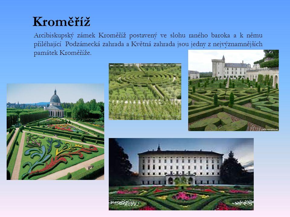 Kroměříž Arcibiskupský zámek Kroměříž postavený ve slohu raného baroka a k němu přiléhající Podzámecká zahrada a Květná zahrada jsou jedny z nejvýznamnějších památek Kroměříže.
