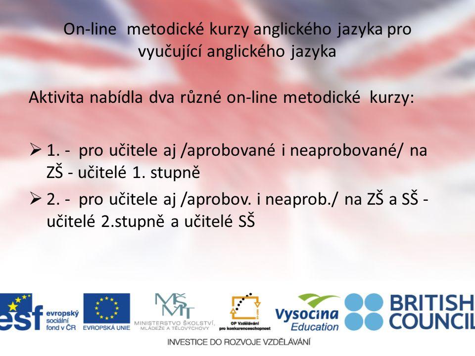 On-line metodické kurzy anglického jazyka pro vyučující anglického jazyka Aktivita nabídla dva různé on-line metodické kurzy: 11.