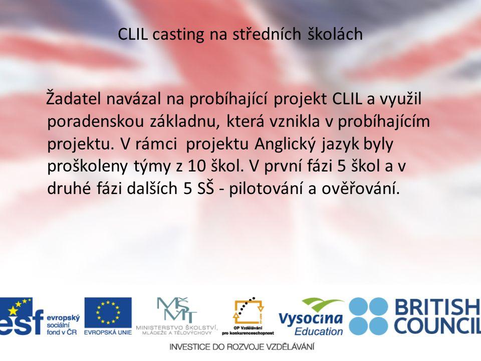 CLIL casting na středních školách Žadatel navázal na probíhající projekt CLIL a využil poradenskou základnu, která vznikla v probíhajícím projektu.