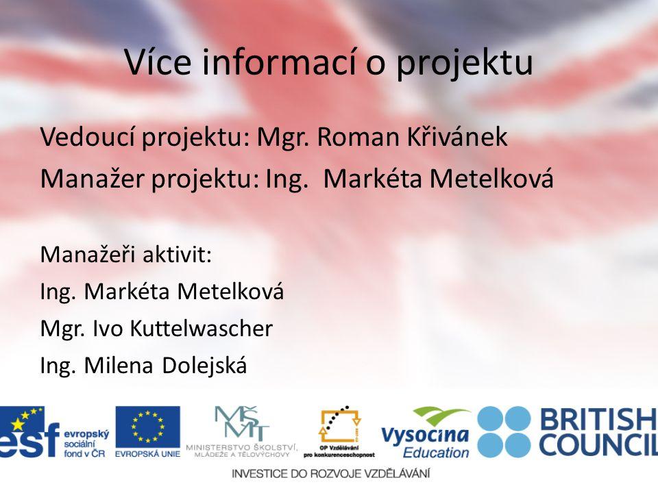 Více informací o projektu Vedoucí projektu: Mgr. Roman Křivánek Manažer projektu: Ing.