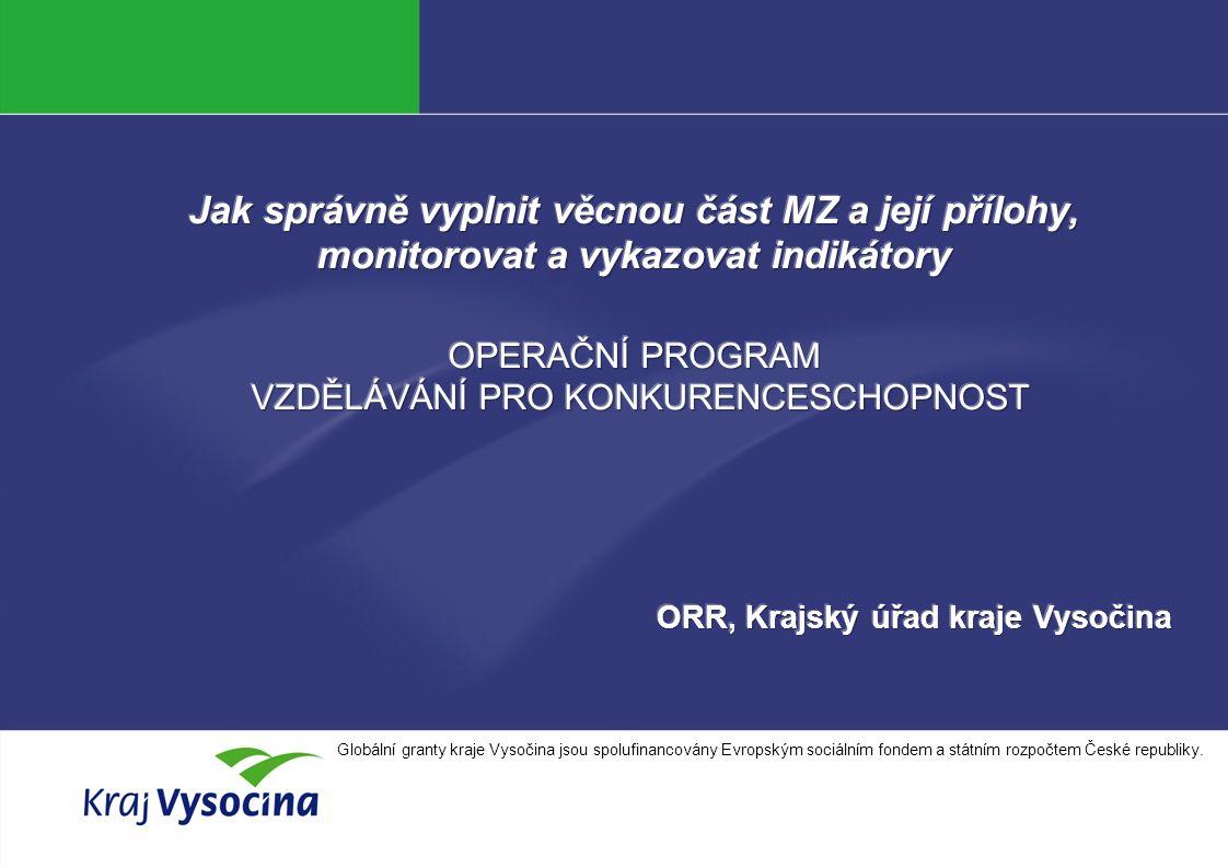 Simona Kašpárková INVESTICE DO ROZVOJE VZDĚLÁVÁNÍ Globální granty kraje Vysočina jsou spolufinancovány Evropským sociálním fondem a státním rozpočtem České republiky.