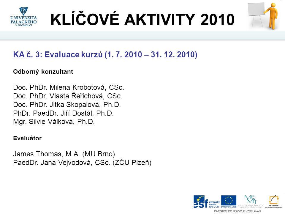 KA č. 3: Evaluace kurzů (1. 7. 2010 – 31. 12. 2010) Odborný konzultant Doc. PhDr. Milena Krobotová, CSc. Doc. PhDr. Vlasta Řeřichová, CSc. Doc. PhDr.