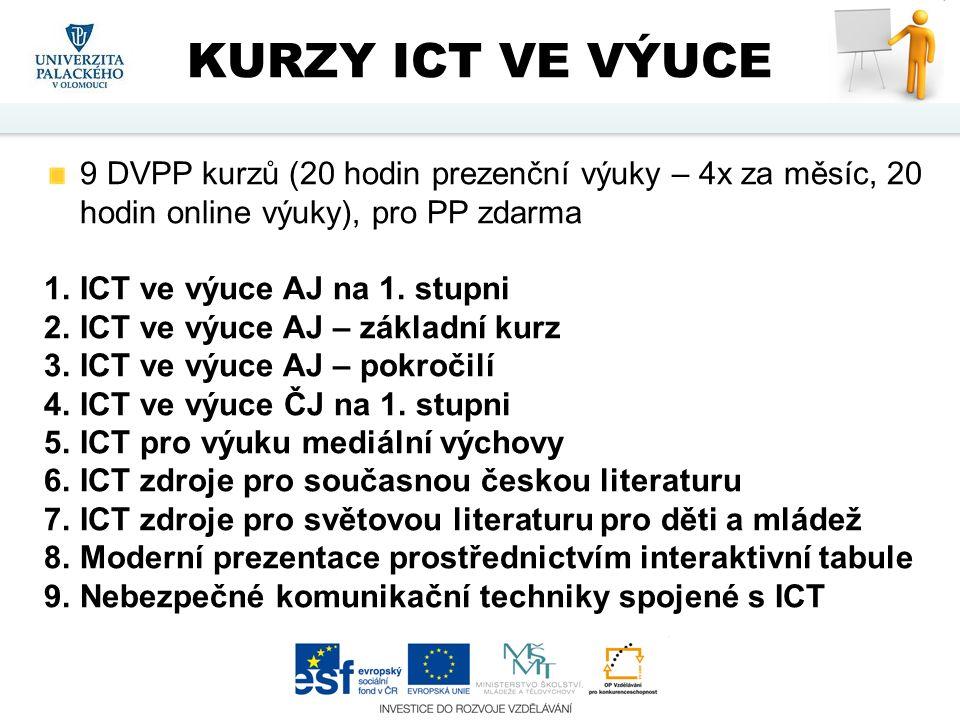 9 DVPP kurzů (20 hodin prezenční výuky – 4x za měsíc, 20 hodin online výuky), pro PP zdarma 1.ICT ve výuce AJ na 1. stupni 2.ICT ve výuce AJ – základn
