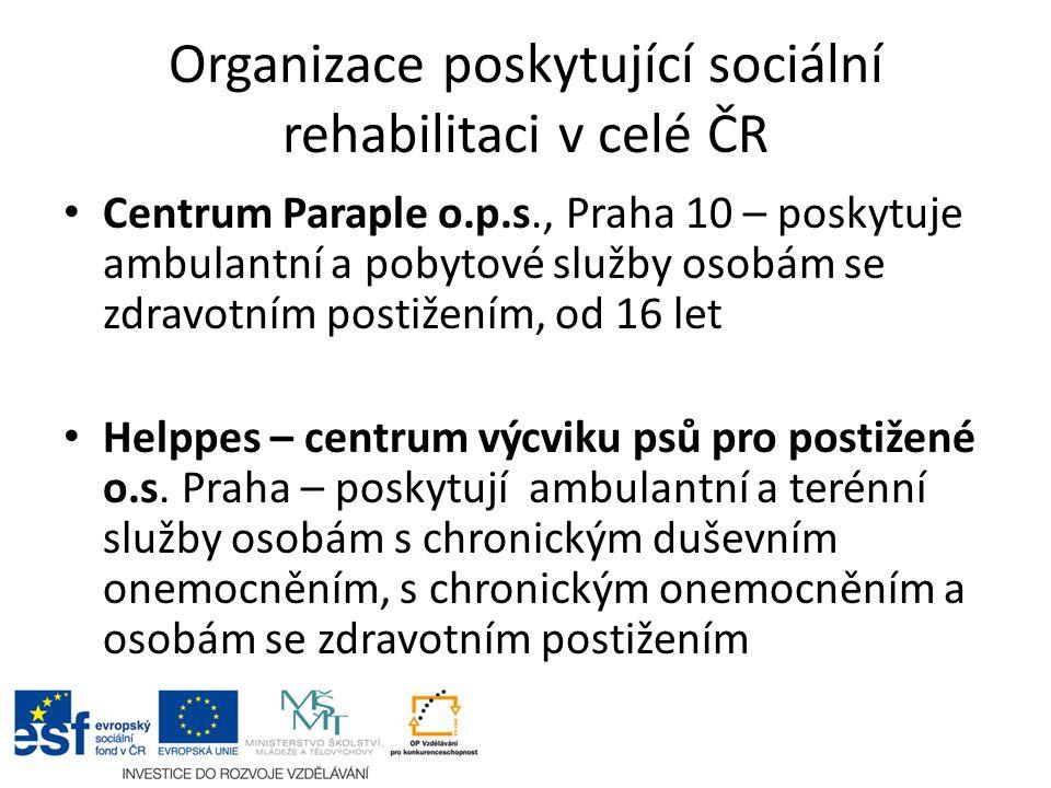 Organizace poskytující sociální rehabilitaci v celé ČR Centrum Paraple o.p.s., Praha 10 – poskytuje ambulantní a pobytové služby osobám se zdravotním