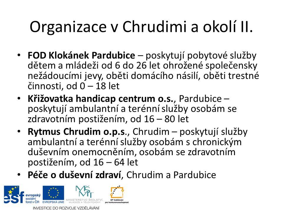 Organizace v Chrudimi a okolí II. FOD Klokánek Pardubice – poskytují pobytové služby dětem a mládeži od 6 do 26 let ohrožené společensky nežádoucími j