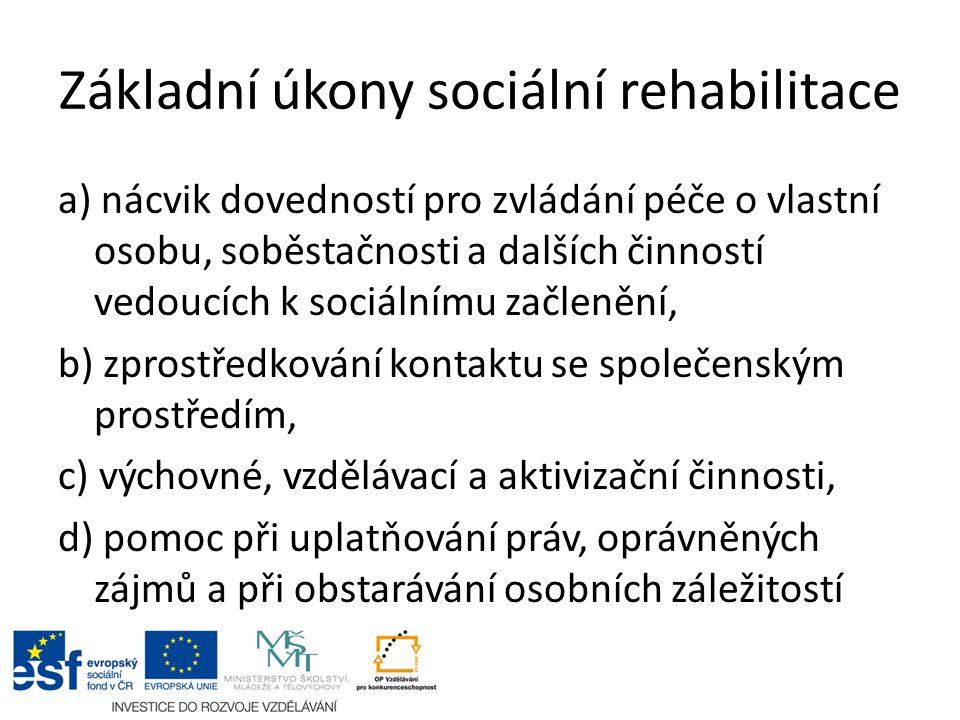 Základní úkony sociální rehabilitace a) nácvik dovedností pro zvládání péče o vlastní osobu, soběstačnosti a dalších činností vedoucích k sociálnímu z