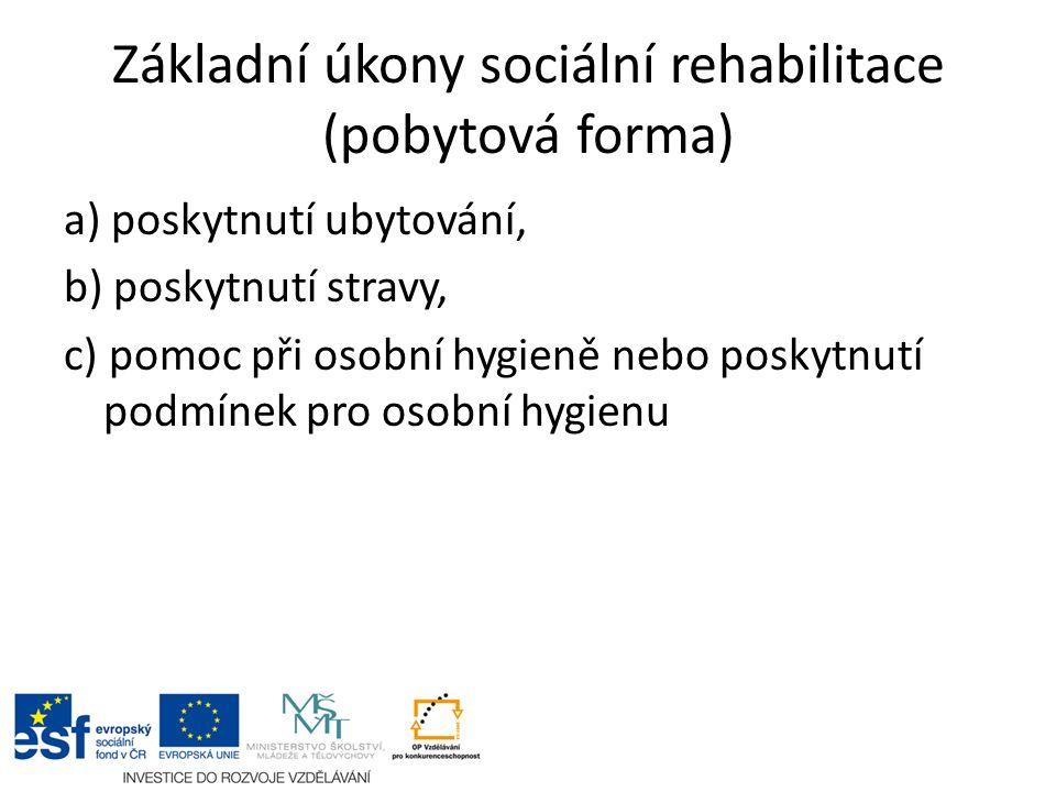 Základní úkony sociální rehabilitace (pobytová forma) a) poskytnutí ubytování, b) poskytnutí stravy, c) pomoc při osobní hygieně nebo poskytnutí podmínek pro osobní hygienu