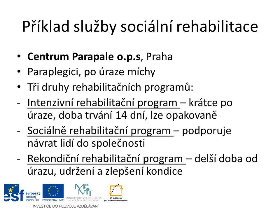 Příklad služby sociální rehabilitace Centrum Parapale o.p.s, Praha Paraplegici, po úraze míchy Tři druhy rehabilitačních programů: -Intenzivní rehabil