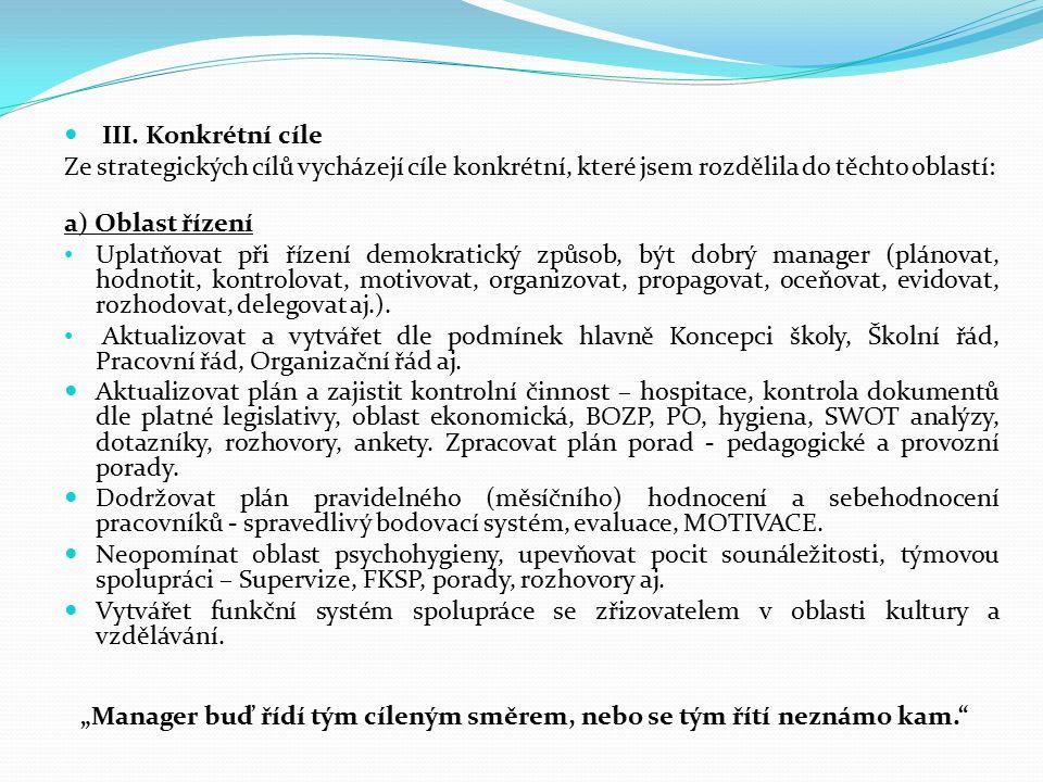 III. Konkrétní cíle Ze strategických cílů vycházejí cíle konkrétní, které jsem rozdělila do těchto oblastí: a) Oblast řízení Uplatňovat při řízení dem