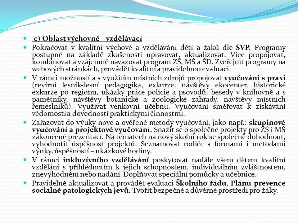 c) Oblast výchovně - vzdělávací Pokračovat v kvalitní výchově a vzdělávání dětí a žáků dle ŠVP.