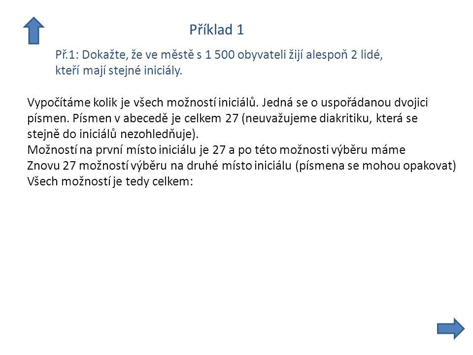 Příklad 1 Př.1: Dokažte, že ve městě s 1 500 obyvateli žijí alespoň 2 lidé, kteří mají stejné iniciály.