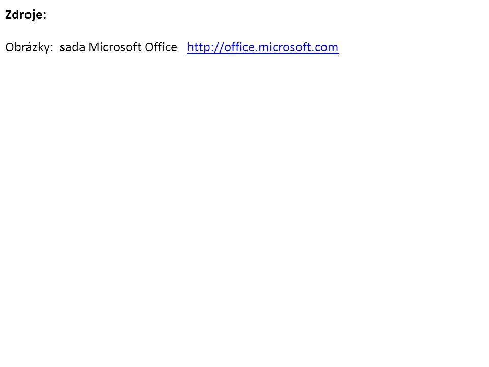 Zdroje: Obrázky: sada Microsoft Office http://office.microsoft.comhttp://office.microsoft.com