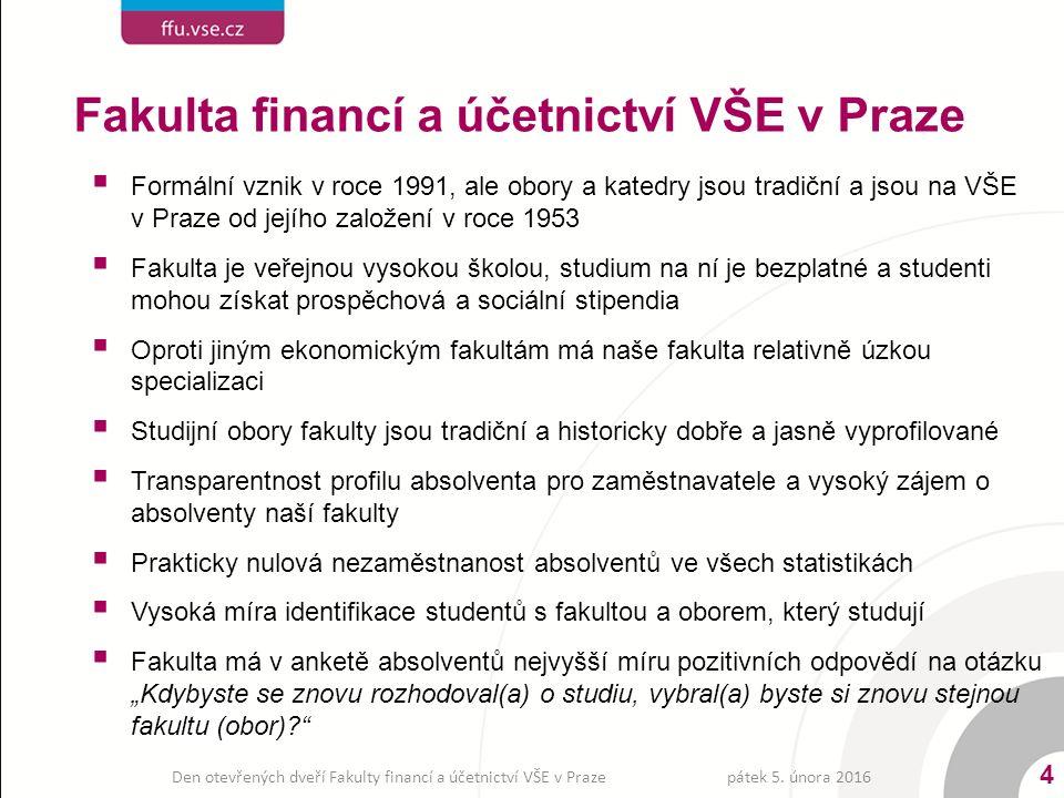 Fakulta financí a účetnictví VŠE v Praze 4  Formální vznik v roce 1991, ale obory a katedry jsou tradiční a jsou na VŠE v Praze od jejího založení v