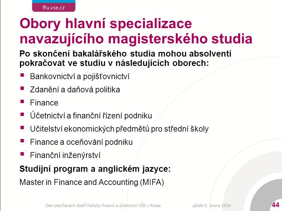 Po skončení bakalářského studia mohou absolventi pokračovat ve studiu v následujících oborech:  Bankovnictví a pojišťovnictví  Zdanění a daňová politika  Finance  Účetnictví a finanční řízení podniku  Učitelství ekonomických předmětů pro střední školy  Finance a oceňování podniku  Finanční inženýrství Studijní program a anglickém jazyce: Master in Finance and Accounting (MIFA) pátek 5.