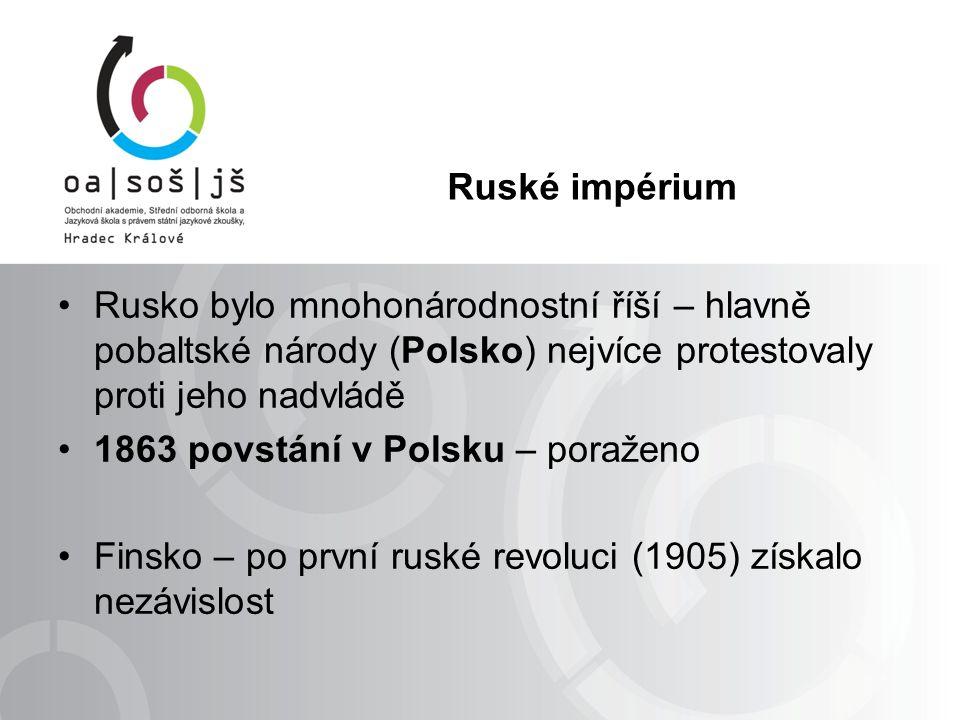 Ruské impérium Rusko bylo mnohonárodnostní říší – hlavně pobaltské národy (Polsko) nejvíce protestovaly proti jeho nadvládě 1863 povstání v Polsku – poraženo Finsko – po první ruské revoluci (1905) získalo nezávislost