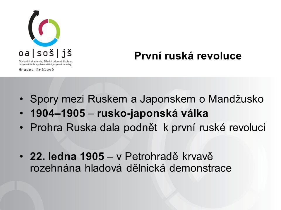 První ruská revoluce Spory mezi Ruskem a Japonskem o Mandžusko 1904–1905 – rusko-japonská válka Prohra Ruska dala podnět k první ruské revoluci 22.