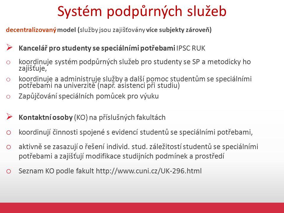 Systém podpůrných služeb decentralizovaný model (služby jsou zajišťovány více subjekty zároveň)  Kancelář pro studenty se speciálními potřebami IPSC RUK o koordinuje systém podpůrných služeb pro studenty se SP a metodicky ho zajišťuje, o koordinuje a administruje služby a další pomoc studentům se speciálními potřebami na univerzitě (např.