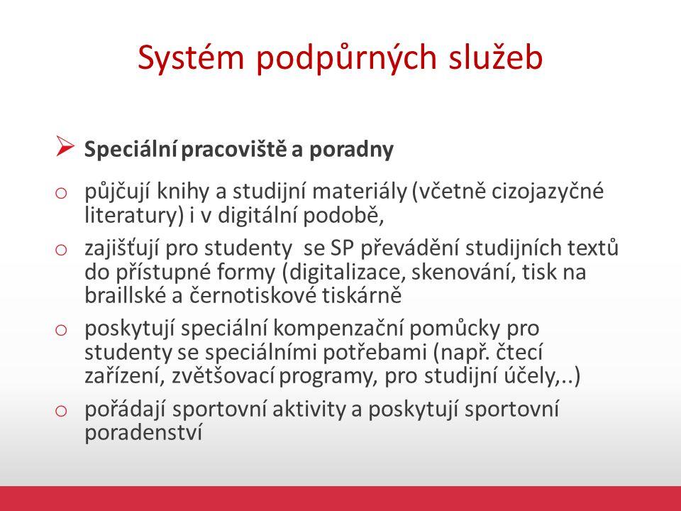Systém podpůrných služeb  Speciální pracoviště a poradny o půjčují knihy a studijní materiály (včetně cizojazyčné literatury) i v digitální podobě, o zajišťují pro studenty se SP převádění studijních textů do přístupné formy (digitalizace, skenování, tisk na braillské a černotiskové tiskárně o poskytují speciální kompenzační pomůcky pro studenty se speciálními potřebami (např.