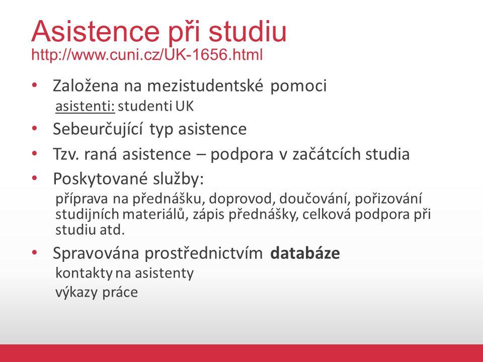Asistence při studiu http://www.cuni.cz/UK-1656.html Založena na mezistudentské pomoci asistenti: studenti UK Sebeurčující typ asistence Tzv.