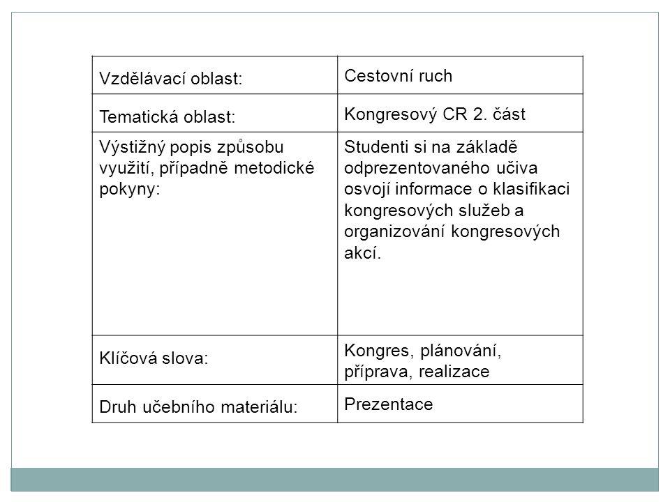 Vzdělávací oblast: Cestovní ruch Tematická oblast: Kongresový CR 2.