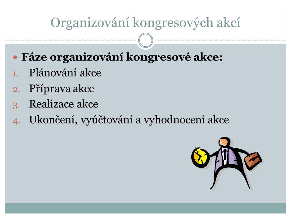 Organizování kongresových akcí Fáze organizování kongresové akce: 1.