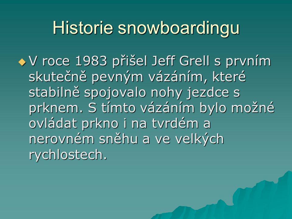 Historie snowboardingu  V roce 1983 přišel Jeff Grell s prvním skutečně pevným vázáním, které stabilně spojovalo nohy jezdce s prknem.