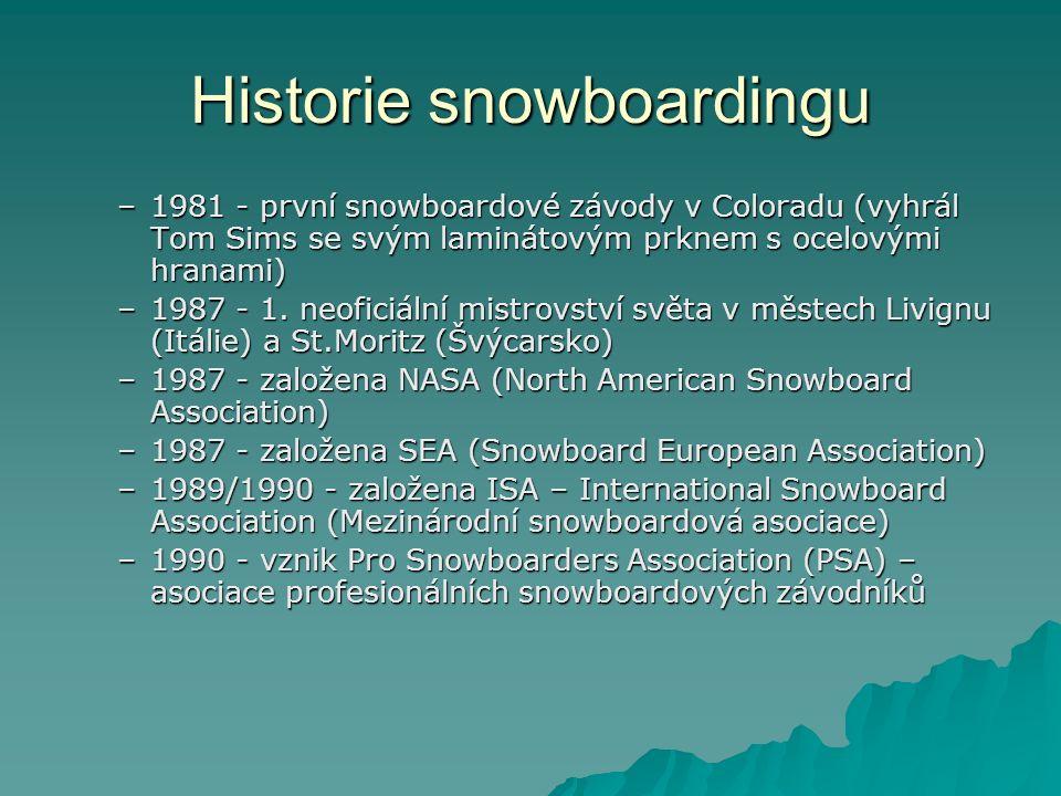 Historie snowboardingu –1981 - první snowboardové závody v Coloradu (vyhrál Tom Sims se svým laminátovým prknem s ocelovými hranami) –1987 - 1.
