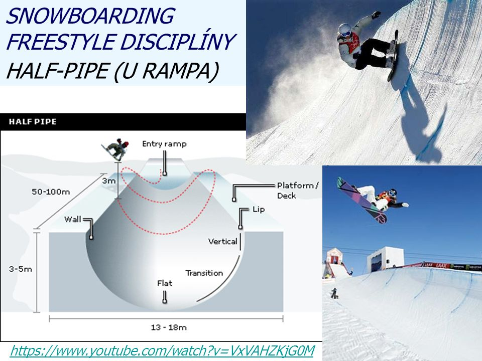 SNOWBOARDING FREESTYLE DISCIPLÍNY HALF-PIPE (U RAMPA) https://www.youtube.com/watch v=VxVAHZKjG0M