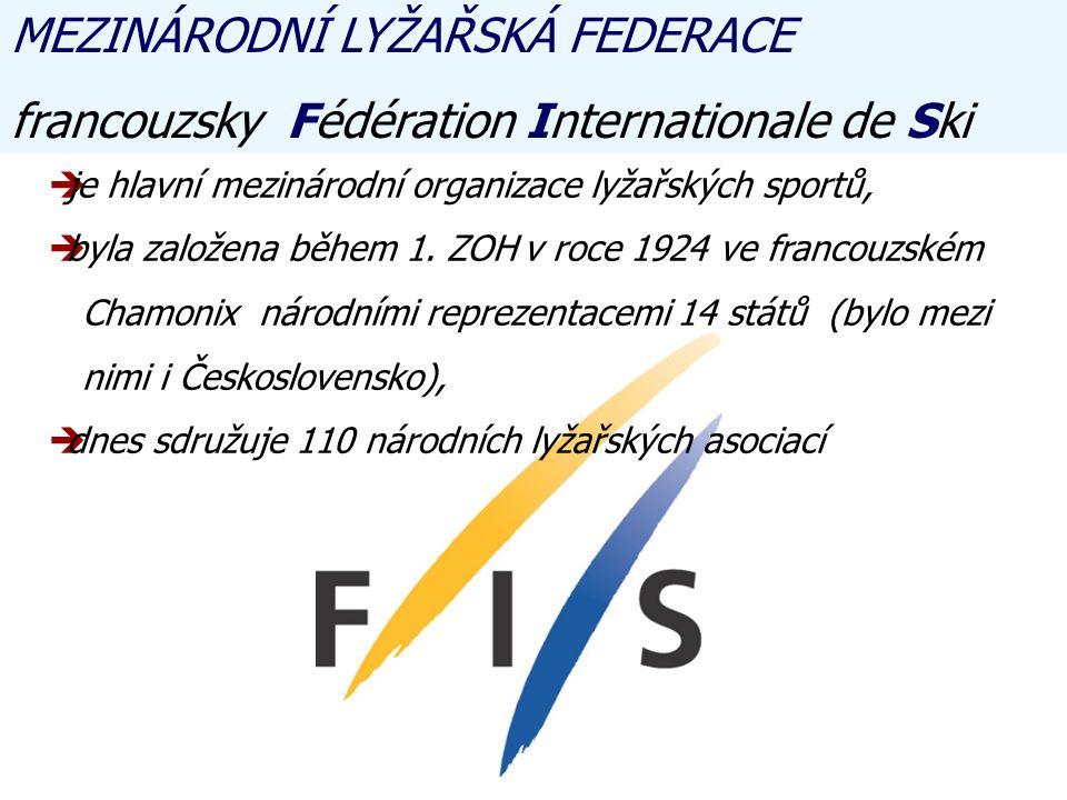 MEZINÁRODNÍ LYŽAŘSKÁ FEDERACE francouzsky Fédération Internationale de Ski jje hlavní mezinárodní organizace lyžařských sportů, bbyla založena během 1.