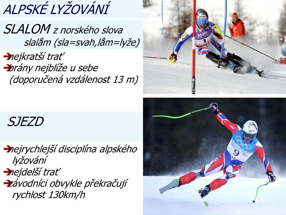nnejkratší trať bbrány nejblíže u sebe (doporučená vzdálenost 13 m) SJEZD nnejrychlejší disciplína alpského lyžování nnejdelší trať zzávodníci obvykle překračují rychlost 130km/h SLALOM z norského slova slalåm (sla=svah,låm=lyže) ALPSKÉ LYŽOVÁNÍ