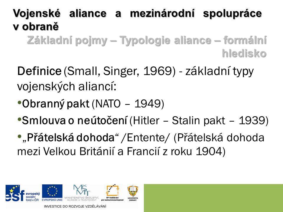 """Definice (Small, Singer, 1969) - základní typy vojenských aliancí: Obranný pakt (NATO – 1949) Smlouva o neútočení (Hitler – Stalin pakt – 1939) """"Přátelská dohoda /Entente/ (Přátelská dohoda mezi Velkou Británií a Francií z roku 1904) Vojenské aliance a mezinárodní spolupráce v obraně Základní pojmy – Typologie aliance – formální hledisko"""