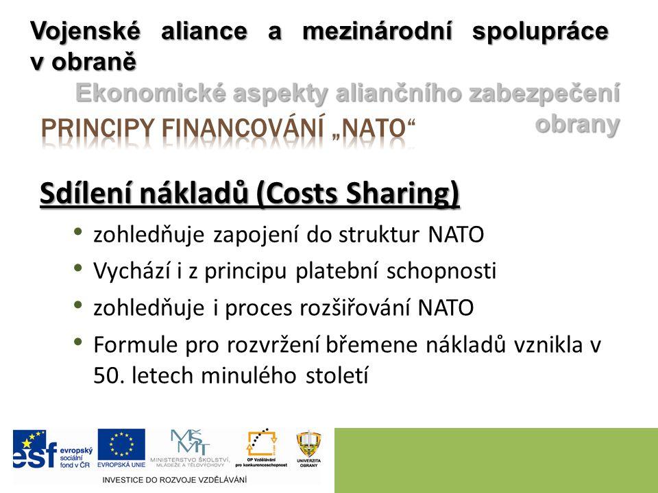 Sdílení nákladů (Costs Sharing) zohledňuje zapojení do struktur NATO Vychází i z principu platební schopnosti zohledňuje i proces rozšiřování NATO Formule pro rozvržení břemene nákladů vznikla v 50.