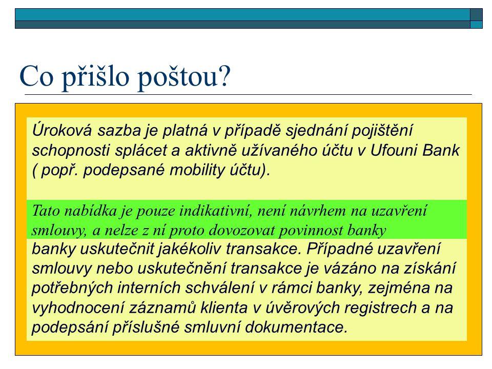 Úroková sazba je platná v případě sjednání pojištění schopnosti splácet a aktivně užívaného účtu v Ufouni Bank ( popř.