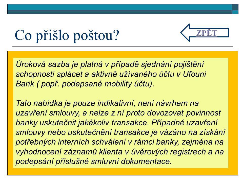 Úroková sazba je platná v případě sjednání pojištění schopnosti splácet a aktivně užívaného účtu v Ufouni Bank ( popř. podepsané mobility účtu). Tato