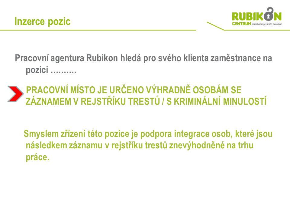 Inzerce pozic Pracovní agentura Rubikon hledá pro svého klienta zaměstnance na pozici ……….