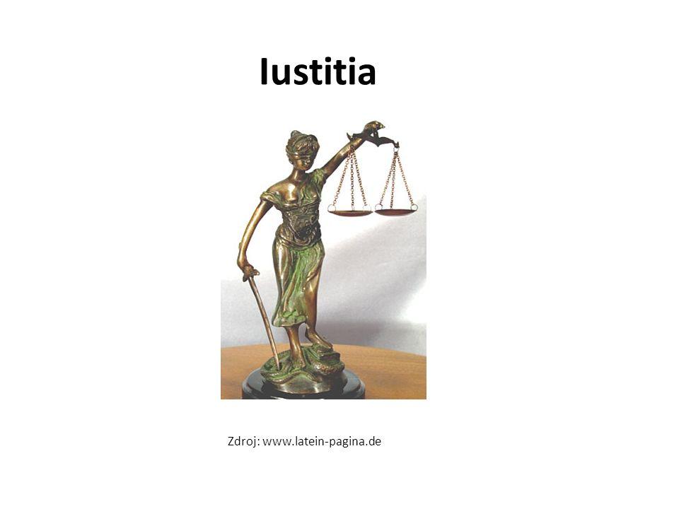 Iustitia IUSTITIA je žena držící v jedné ruce váhy a ve druhé meč; Tyto symboly spravedlnosti přebírá pak také křesťanství, v starozákonné knize Danielové najdeme odkaz na tuto symboliku; činy jsou váženy na váhách a pokud jsou lehké, dotyčný je vinným.
