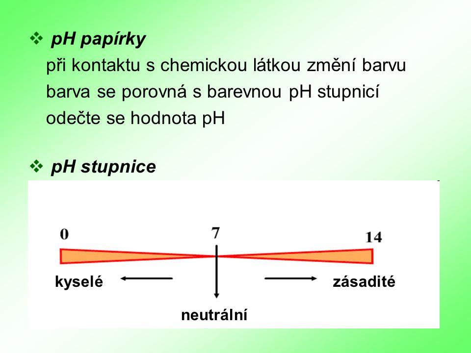  p pH papírky při kontaktu s chemickou látkou změní barvu barva se porovná s barevnou pH stupnicí odečte se hodnota pH  p pH stupnice neutrální kyselézásadité
