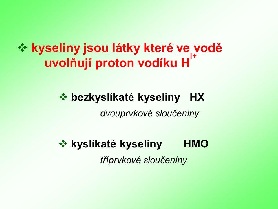  k kyseliny jsou látky které ve vodě uvolňují proton vodíku H  bezkyslíkaté kyseliny HX dvouprvkové sloučeniny  k kyslíkaté kyselinyHMO tříprvkové sloučeniny I+
