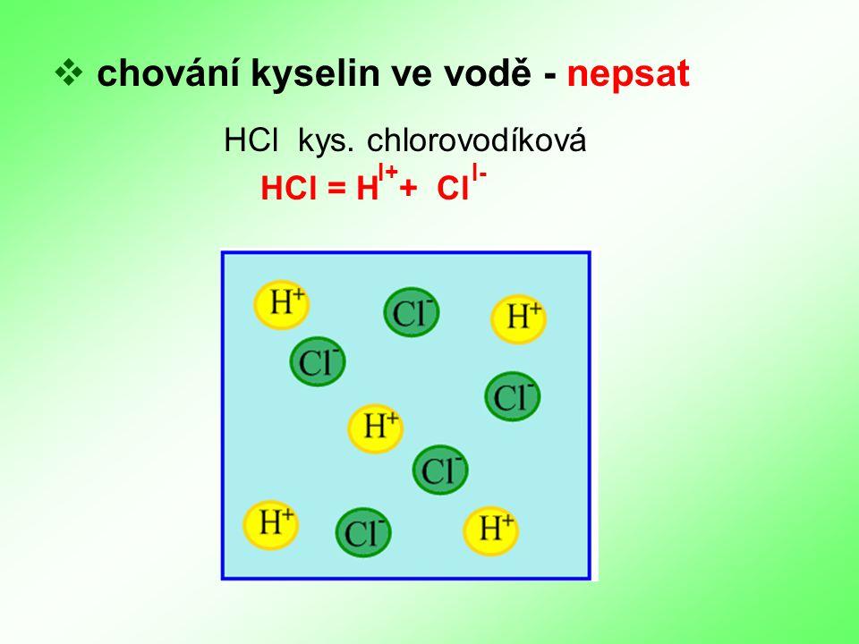  chování kyselin ve vodě - nepsat HCl kys. chlorovodíková HCl = H + Cl I+I-