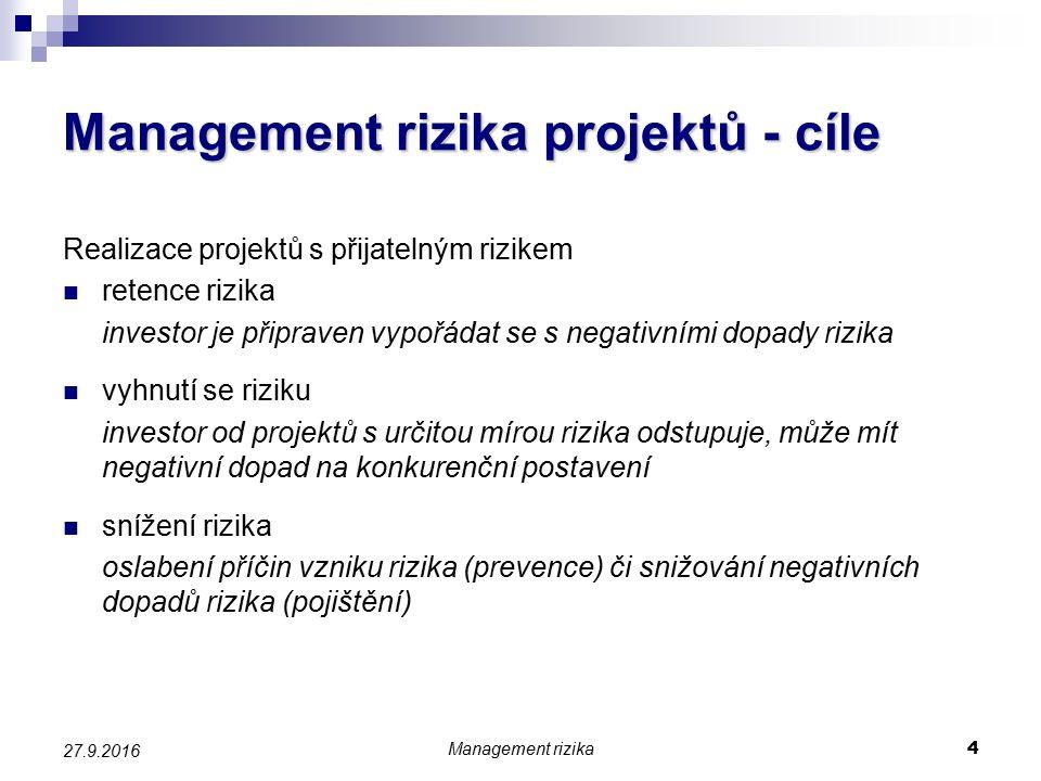 Management rizika projektů - cíle Realizace projektů s přijatelným rizikem retence rizika investor je připraven vypořádat se s negativními dopady rizika vyhnutí se riziku investor od projektů s určitou mírou rizika odstupuje, může mít negativní dopad na konkurenční postavení snížení rizika oslabení příčin vzniku rizika (prevence) či snižování negativních dopadů rizika (pojištění) Management rizika 4 27.9.2016