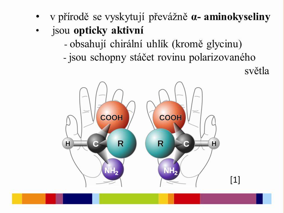 v přírodě se vyskytují převážně α- aminokyseliny jsou opticky aktivní - obsahují chirální uhlík (kromě glycinu) - jsou schopny stáčet rovinu polarizovaného světla [1]