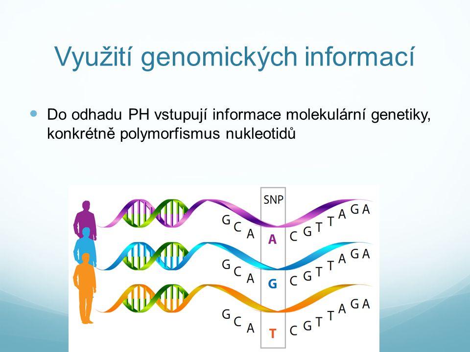 Využití genomických informací Do odhadu PH vstupují informace molekulární genetiky, konkrétně polymorfismus nukleotidů