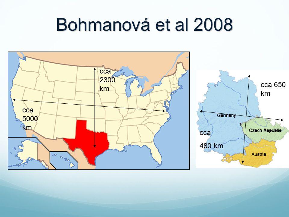 cca 480 km cca 650 km Bohmanová et al 2008 cca 2300 km cca 5000 km